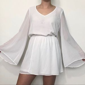 Show me your mini white bell sleeve dress NEW